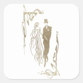 Braut und Bräutigam-Hochzeits-u. Quadratischer Aufkleber