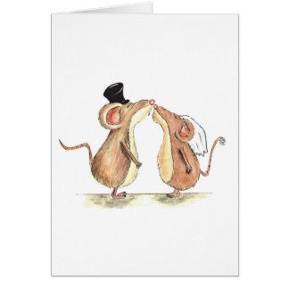 Braut und Bräutigam - Mäuse küssend - Geschenk für Grußkarte