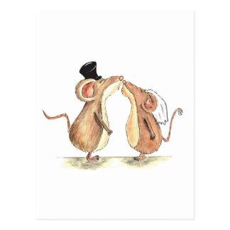 Braut und Bräutigam - Mäuse küssend - Geschenk für Postkarten