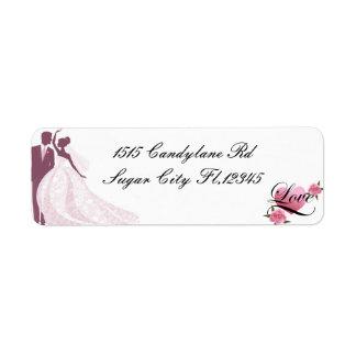 Braut-und Bräutigam-Rücksendeadressen-Aufkleber Rücksende Aufkleber