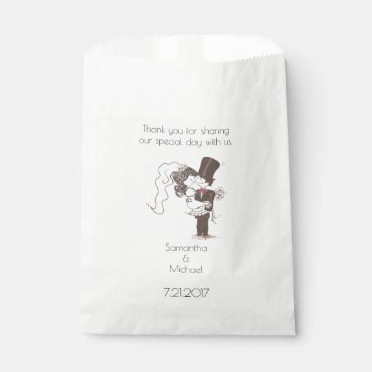Braut-und Bräutigam-weiße Bevorzugungs-Tasche Geschenktütchen