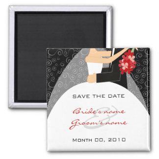 Braut- und BräutigamSave the Date Magneten Quadratischer Magnet