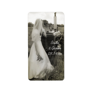 Braut-und Traktor-Land-Gastgeschenk Adressaufkleber