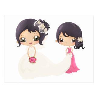 Braut und Trauzeugin Postkarten