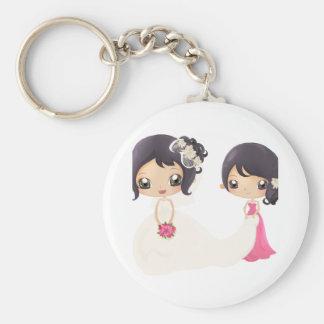 Braut und Trauzeugin Standard Runder Schlüsselanhänger