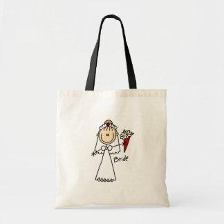 Braut, welche die Blumenstrauß-Tasche wirft Budget Stoffbeutel