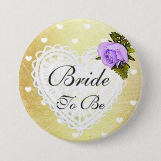 Braut, zum Lila u. Goldherz-weißer Bogen-Knopf zu Runder Button 7,6 Cm