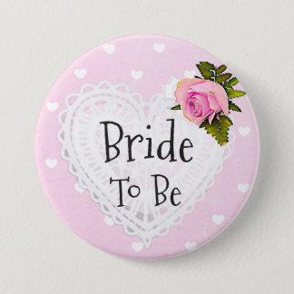 Braut, zum rosa Rosen-Herz-weißer Bogen-Knopf zu Runder Button 7,6 Cm