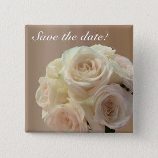 Brautblumenstrauß weg von im Weiß Quadratischer Button 5,1 Cm