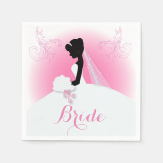 Brautbraut-Silhouette frau Right Pink Papierserviette