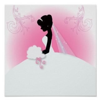 Brautbraut-Silhouette frau Right Pink Poster