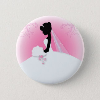 Brautbraut-Silhouette frau Right Pink Runder Button 5,7 Cm
