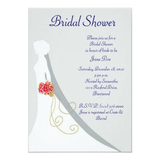 Brautduschen-Braut-Silhouette 12,7 X 17,8 Cm Einladungskarte