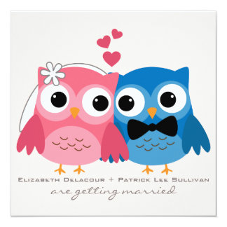 Bräutigam-Eulen-und Braut-Eulen-niedliche Personalisierte Ankündigungskarten