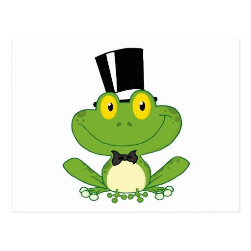 Bräutigam-Frosch-Cartoon-Charakter Postkarten