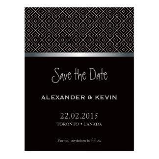 Bräutigam-Homosexuelles schwarzes Muster zwei, das Postkarte