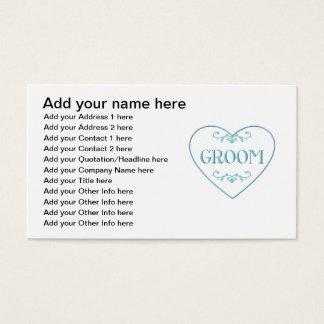 Bräutigam (mit Herzen und Schnörkel) Visitenkarte