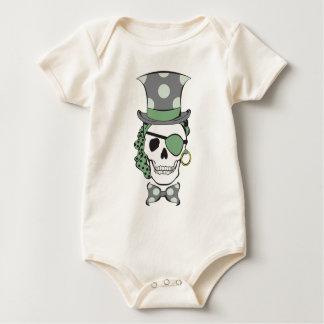 Bräutigam-Piraten-Schädel-Grün Baby Strampler