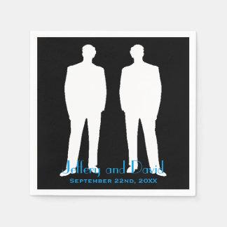 Bräutigam-und Bräutigam-Silhouette-personalisierte Papierservietten