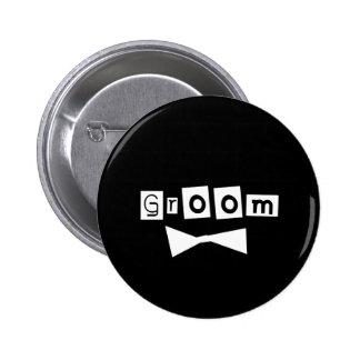 Bräutigam-Weiß auf Schwarzem Runder Button 5,7 Cm