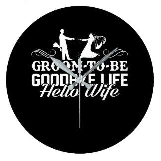 Bräutigam, zum Auf Wiedersehen Leben-hallo Große Wanduhr