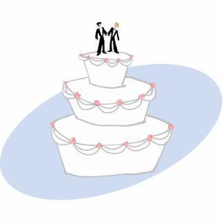Bräutigame der Hochzeitstorte-zwei Fotoskulptur Ornament
