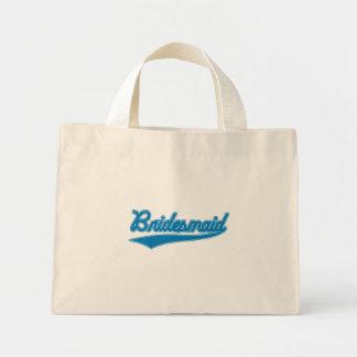 Brautjungfer (Baseball-Skript-Blau) Mini Stoffbeutel