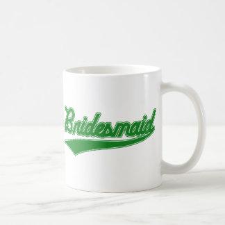 Brautjungfer (Baseball-Skript-Grün) Kaffeetasse