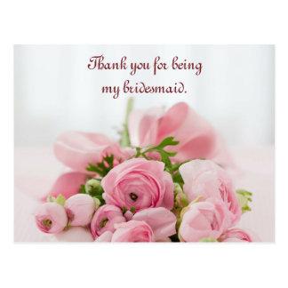 Brautjungfer danken Ihnen rosa Rosen Postkarte