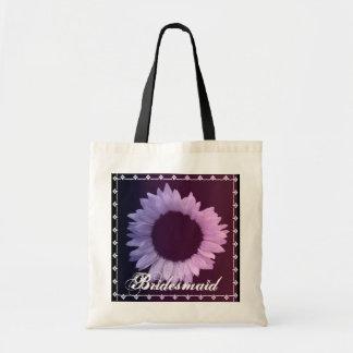 BRAUTJUNGFER rosa lila Sonnenblume-Gastgeschenk Budget Stoffbeutel