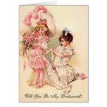 Brautjungfern-Antrag-Karten-Vintage Art-Einladung