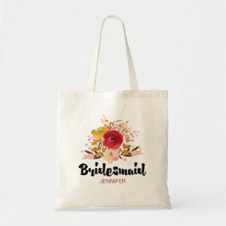 Brautjungfern-BlumenAquarell-Blumenstrauß-Hochzeit Tragetasche