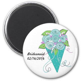 Brautjungfern-Blumenstrauß Runder Magnet 5,7 Cm