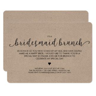 Brautjungfern-Brunch-Einladung - Kraftpapier 12,7 X 17,8 Cm Einladungskarte