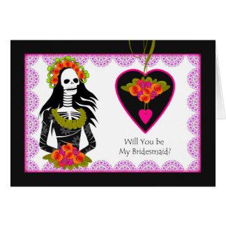 Brautjungfern-Einladung, Dia de Los Muertos Karte