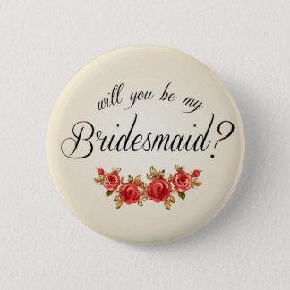 Brautjungfern-Einladung Runder Button 5,1 Cm