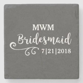 Brautjungfern-Gastgeschenk Hochzeits-Namen-oder Steinuntersetzer