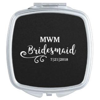Brautjungfern-Gastgeschenk Hochzeits-Namen-oder Taschenspiegel