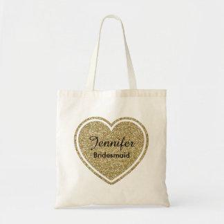 Brautjungfern-Goldherz-kundenspezifische Einkaufstasche