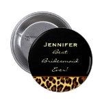 Brautjungfern-Goldleopard-individueller Name Runder Button 5,1 Cm