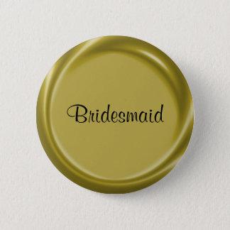 Brautjungfern-Goldnametag-Knopf Runder Button 5,1 Cm