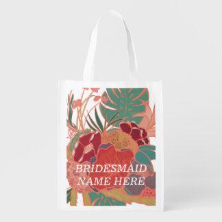 Brautjungfern-personalisierte wiederverwendbare wiederverwendbare einkaufstasche