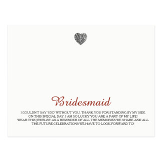 Brautjungfern-Schmuck-Schablone Postkarte