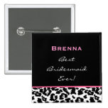 Brautjungfern-Schwarz-weißer rosa Leopard-individu Buttons