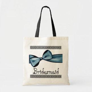 Brautjungfern-Tasche - blauer Imitat-Satin-Bogen u Budget Stoffbeutel