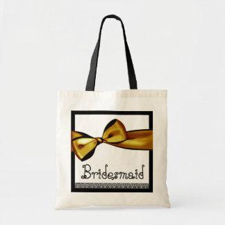 Brautjungfern-Tasche - GoldImitat-Satin-Bogen und