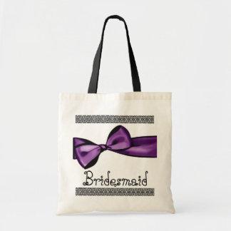 Brautjungfern-Tasche - lila Imitat-Satin-Bogen und