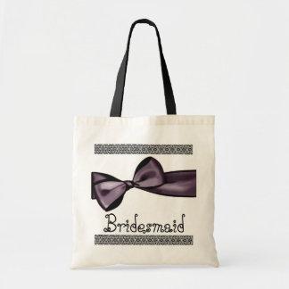 Brautjungfern-Tasche - lila Imitat-Satin-Bogen und Budget Stoffbeutel