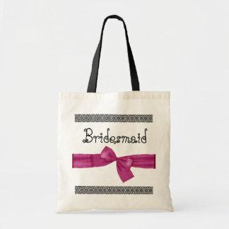 Brautjungfern-Tasche - rosa Imitat-Bogen und Spitz Budget Stoffbeutel