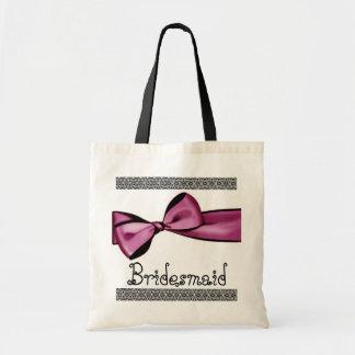 Brautjungfern-Tasche - rosa Imitat-Satin-Bogen und Budget Stoffbeutel